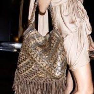 Jimmy Choo Snakeskin 'Tatum' Fringe Shoulder Bag